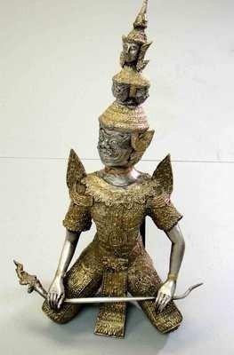 30: Vintage Thai Bronze Three Headed Giant Sitting