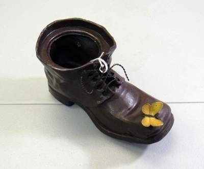 32: Vintage Retite Choses Bronze Shoe with butterfly