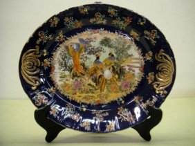 16'' PORCEALINE BLUE PLATE WITH STAND WITH DESIGN