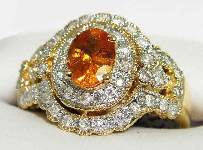 32D: 1.23ct Mandarin Garnet & .48ct Diamond 14KT Gold