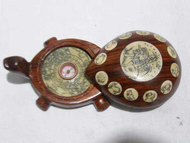 """29B:  CHINESE OLD REDWOOD CARVED """"FENGSHUI"""" TURTLE COMP"""