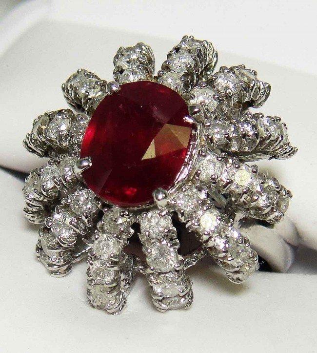 28E: 3.33CT Ruby & 1.57CT Diamonds 14K White GOLD Ring