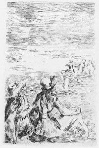 """Renoir """"Sur la Plage"""" 1841-1919 Etching"""