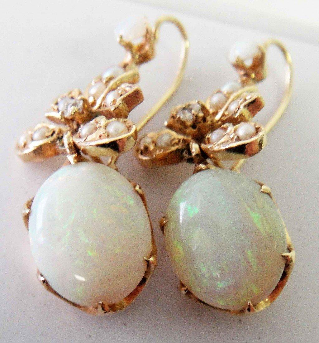 4: 4.04ctw Opal & 0.08ct Diamond 14KT Earrings w/ COA