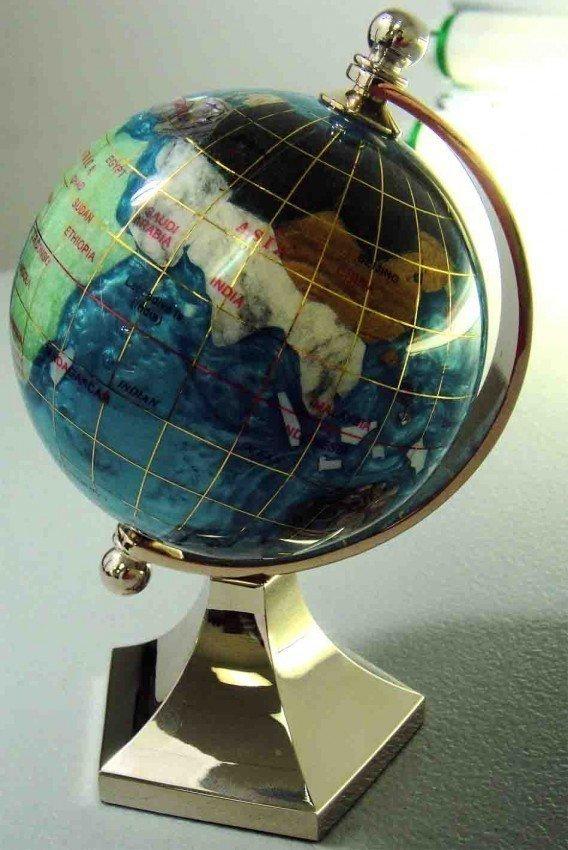 2A: Laspis Lazuli GemStone Desk World Globe