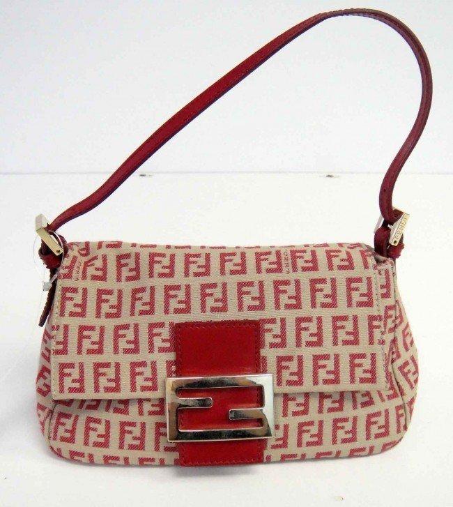 3C: Genuine Red Fendi Pochette Canvas Mini Handbag