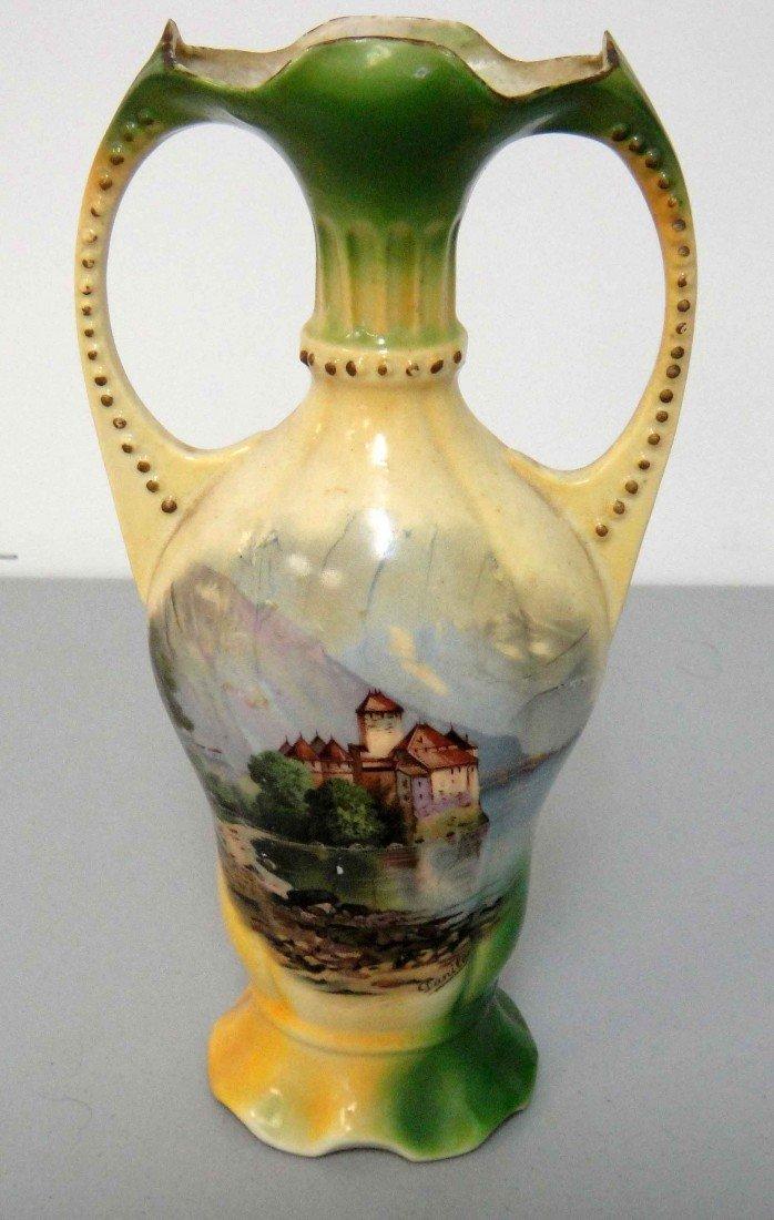 4D: Antique Germany Porcelain Vase W/Lake & Village, Si