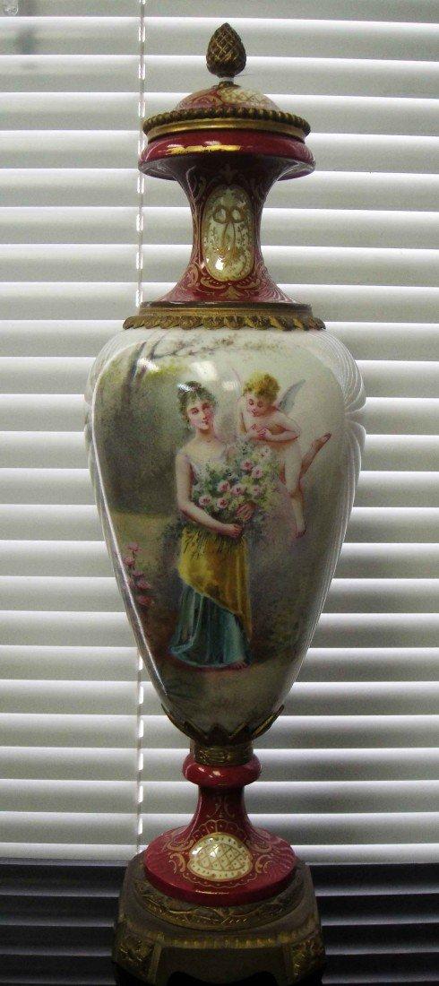 Sevres 19C Bronze & Porcelain Hand Painted Urn Signed