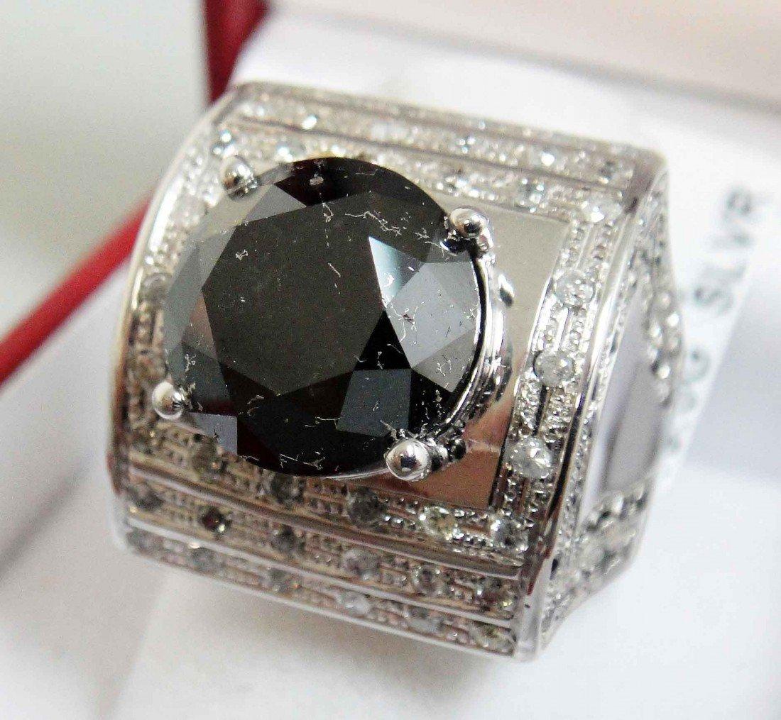 2E: 6.82ct Black Diam & .42ct Diam 18KT Plated Ring