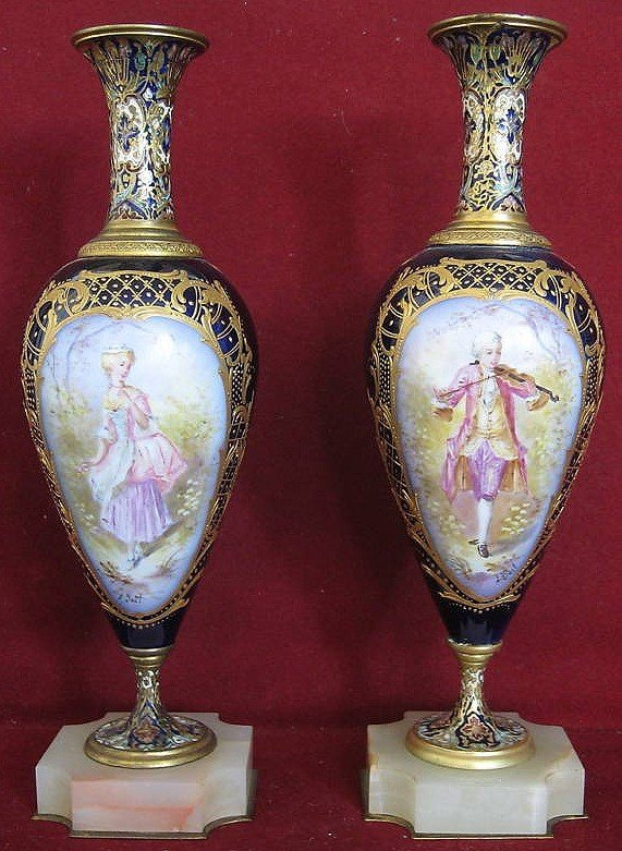 1: Pair of French Sevres Porcelain Enamel Bronze Vases