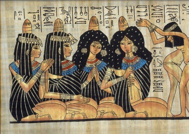 2: NEW Egyptian Egypt PAPYRUS Maidens singing dancin