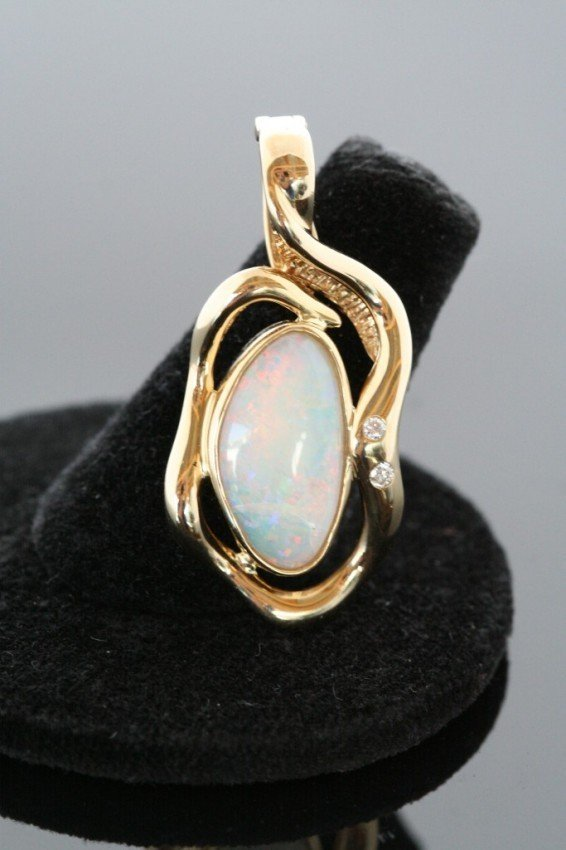 1A: 18K Gold Custom Freeform Diamond & Opal Pendant Es