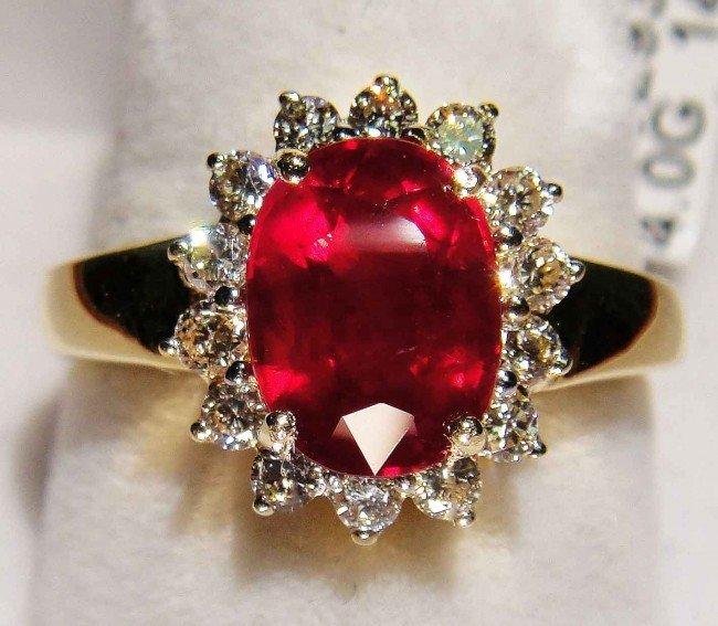 4C: 3.28ct Ruby & 0.52ctw Diamond 14KT Gold Ring