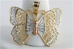 18C 14K TriTone Gold Filigree Butterfly Charm Pendan