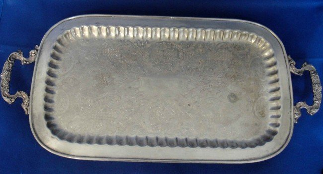 1K: Antique Rectangular Silver Plated Persian Handled T