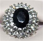 150C: 6.74ctw Blue/White Sapphire Sterling Silver Ring