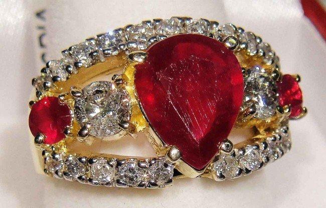 1D: 3.24ct Ruby & 1.26ctw Diamond 14KT Gold Ring