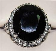 2D: 24.97ctw Blue/White Sapphire Sterling Silver Ring G