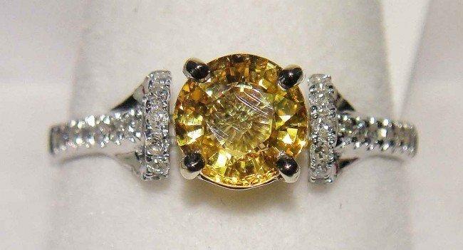 3D: 1.12ct Yellow Sapphire & 0.20ct Diamond 18KT Gold R
