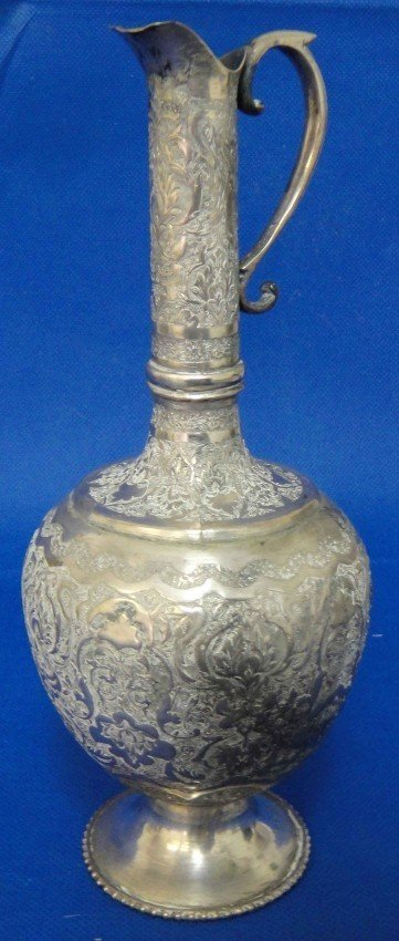 3B: Beautiful Antique Persian Engraved Silver Pitcher