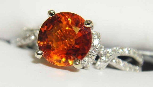 1: 1.25ct Orange Sapphire & 0.13ctw Diamond 18KT GOLD