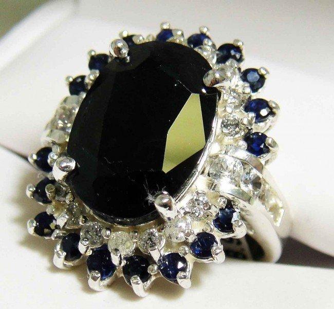 3: 10.14ct Sapphire & .34ct Diamond Silver ladies Rin