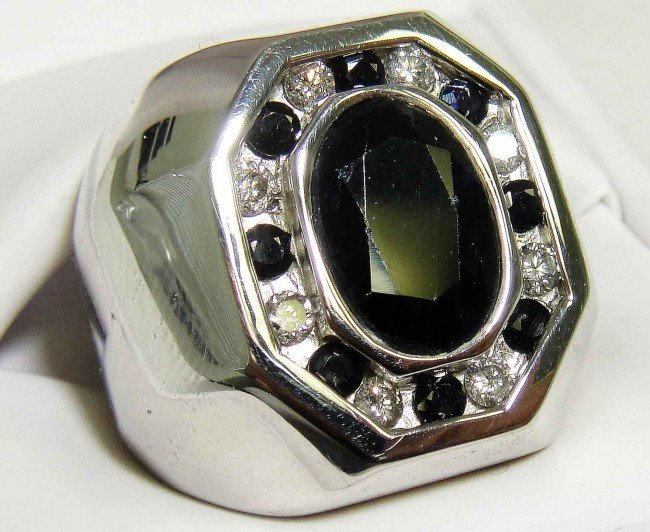 4: 6.75ct Sapphire & .59ct Diamond on Silver Ring