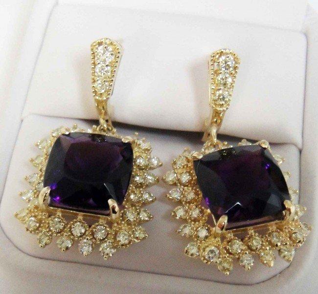 5: 15.23ct Amethyst & 2.69ct Diamond 14KT Gold Earrings
