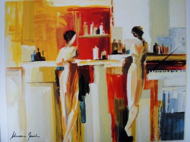 """1A: Adriana Naveh """"Conversation"""" Serigraph on Paper Si"""