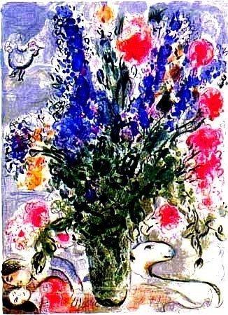 6A: Marc Chagall Les Lupins Bleu Offset Lithograph