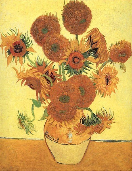 """7A: Vincent van Gogh """"Still Life with Sunflowers""""."""