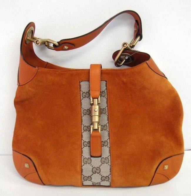 2B: Genuine Gucci Orange Leather/Suede Hobo Handbag