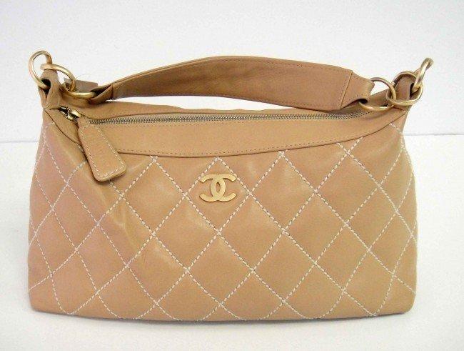 "54D: Genuine CHANEL ""Tan Quilted"" Ladies Handbag w/ Dus"