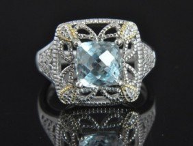 1B: Sterling Silver Aquamarine Diamond Deco Cocktail Ri