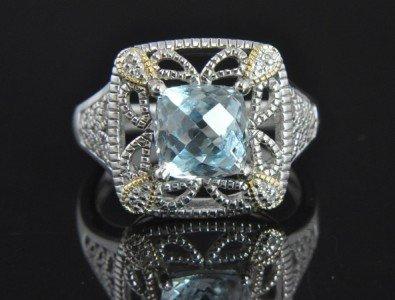 1B: Sterling Silver Aquamarine Diamond Deco Cocktail Ri