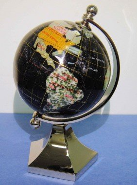 "3B: 3"" Black Opalite Gemstone Silver Plated Globe"
