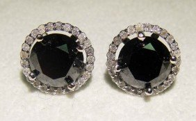 7.00ctw Black & White Diamond 14KT Gold Stud Earring