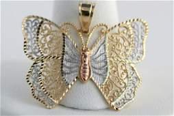 111E 14K TriTone Gold Filigree Butterfly Charm Pendan