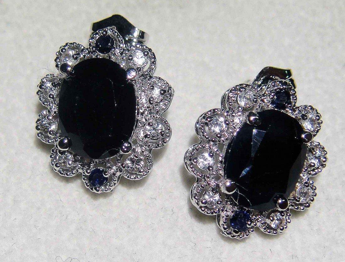 5.21ctw Blue/White Sapphire Sterling Silver Earring GLA