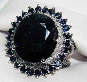 14.22ctw Blue Sapphire & 1.05ctw Diamond Silver Ring GL
