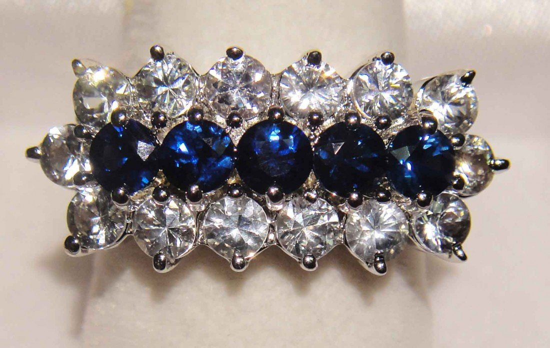 3.08ctw Blue/White Sapphire Sterling Silver Ring GLA