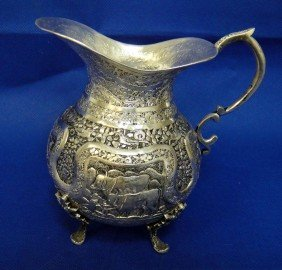 Antique Persian Silver Qajar Engraved Creamer - 245g