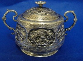 2E: Antique Persian Silver Engraved Sugar holder w/ Lid