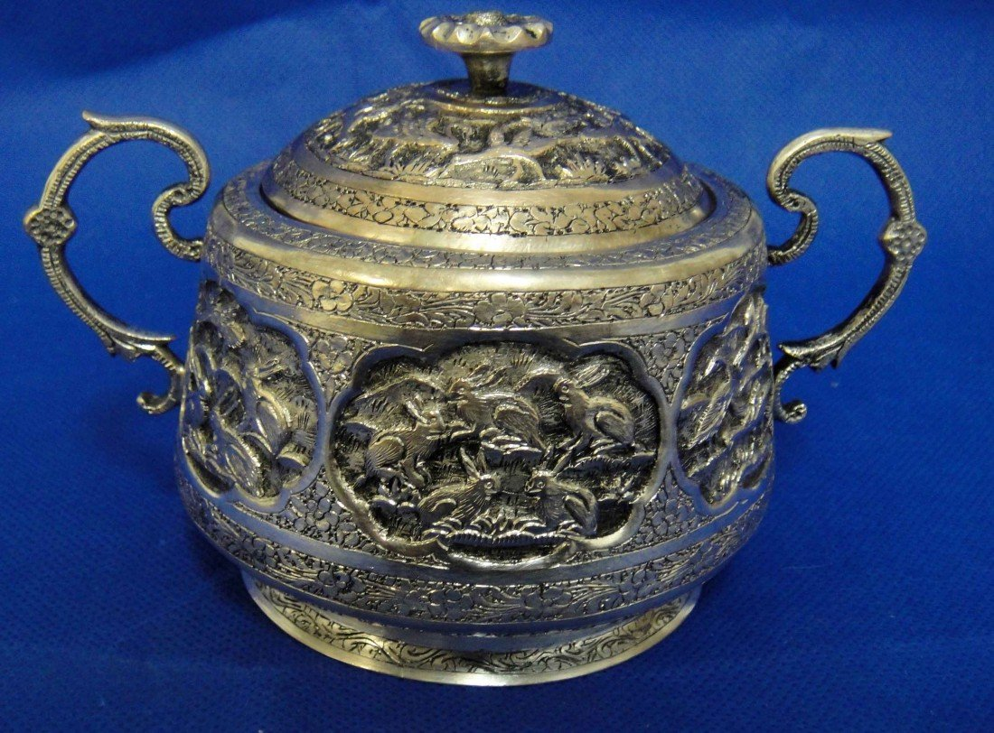 2E: Antique Persian Silver Engraved Sugar holder w/ Lid