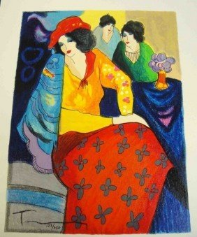 "2F: ORIGINAL Itzchak Tarkay ""Blue Mood"" with COA"
