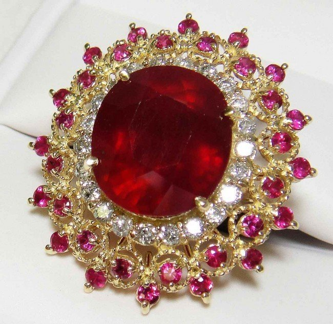 6: 15.85ctw Ruby & 0.74ct Diamond 14KT Solid Gold Rin