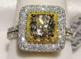 1.90ctw (0.97ct CNTR) Diamond 18K/22K Solid Gold Ring