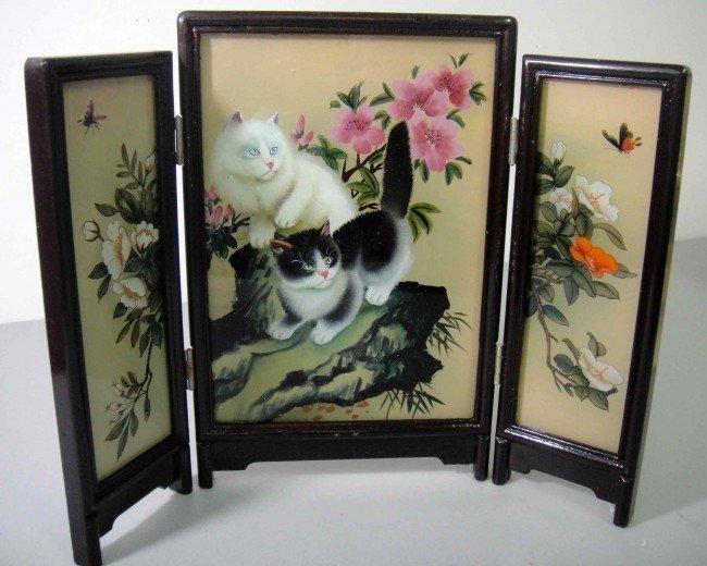 3B: Glass Desk/table Screen White/Black Cats Reverse