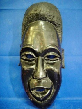 7B: African Mask Made from Wood tree plank Colored in