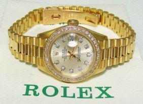 106B: ROLEX 18KT Gold Diamond DateJust Ladies Wristwat